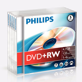 DVD+RW 4,7GB 4xspeed jewel case 5 stuks