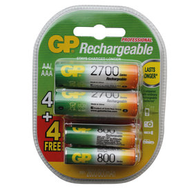 oplaadbare batterij NiMH 4AA+4AAA 2700/800mAh
