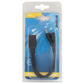 OTG kabel on-the-go micro USB(M+F) - USB(F) 15cm