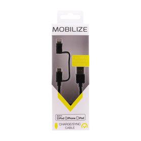 laad+datakabel micro USB + lightning 1,5m zwart