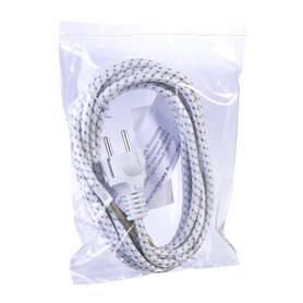 strijkijzersnoer 3.0m omsponnen wit