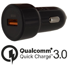 USB auto adapter 1xUSB 1500mA zwart Qualcomm 3.0
