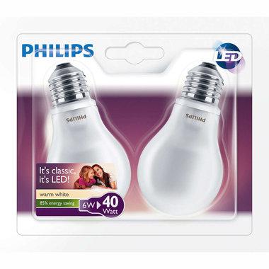 LED lamp E27 6W 470Lm classic mat 2 stuks
