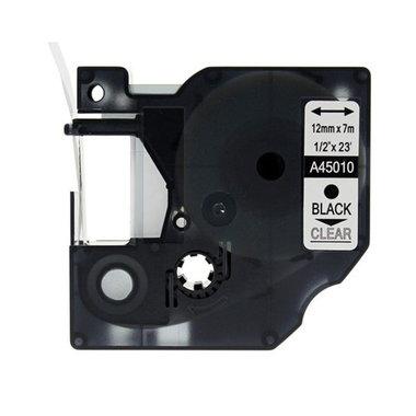 Dymo D1 standaard labels transparant-zwart 12mm