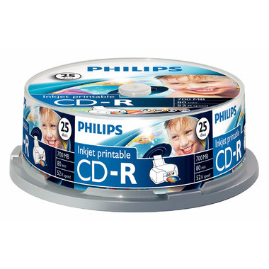 CD-R 700MB 52xspeed printable spindle 25 stuks