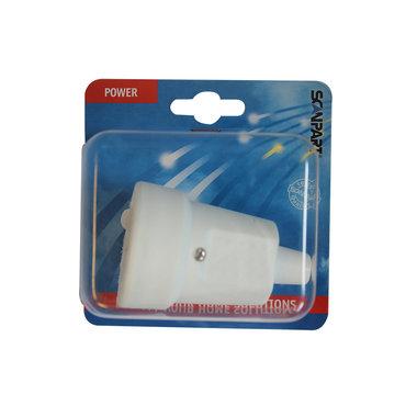 contrastekker met randaarde 10/16A PVC wit