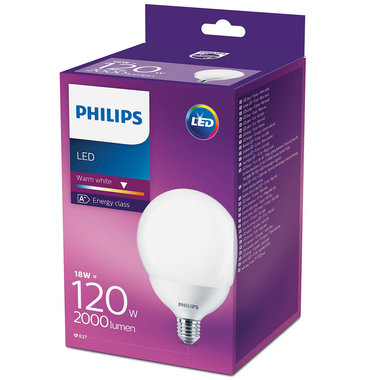LED lamp E27 18W 2000Lm grote bol mat