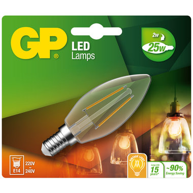 LED lamp E14 2W 250Lm kaars Filament