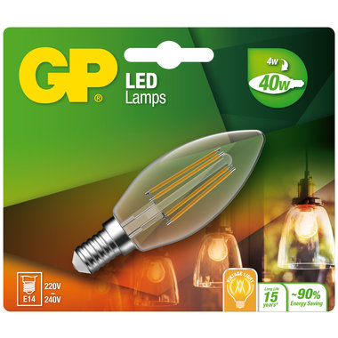 LED lamp E14 4W 470Lm kaars Filament