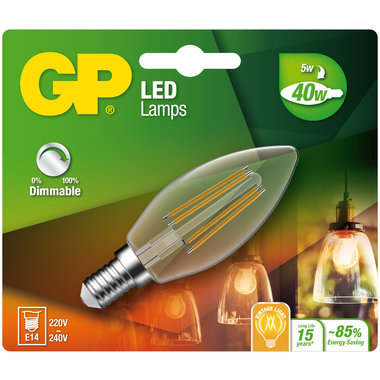 LED lamp E14 5W 470Lm kaars Filament dimbaar