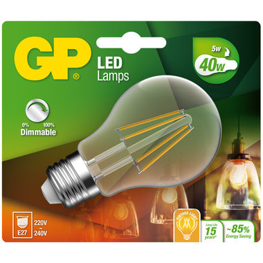 LED lamp E27 5W 470Lm peer filament dimbaar
