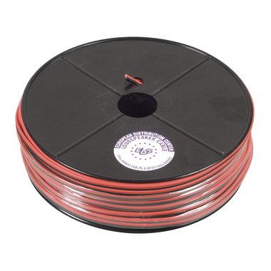 haspel luidsprekersnoer 2x0,75 rood-zwart 100m