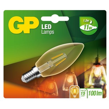 LED lamp E14 1,2W 100Lm kaars vintage gold