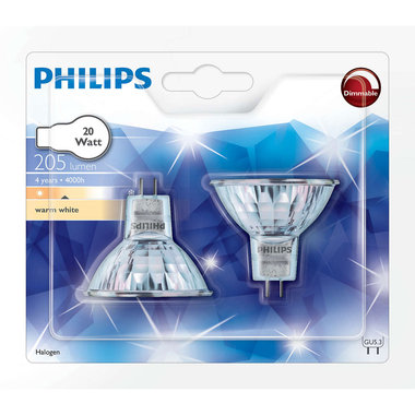 halogeenlamp GU5.3 20W 205Lm reflector - 2 stuks