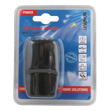USB netvoeding adapter 1xUSB 5V-1A zwart