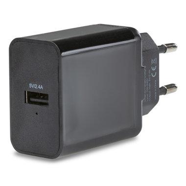 thuislader smart 1xUSB snel 2.4A zwart