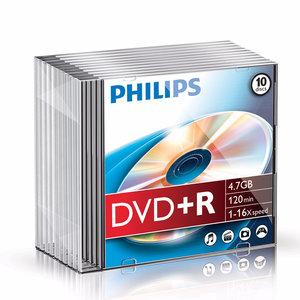 DVD+R 4,7GB 16xspeed slim case 10 stuks