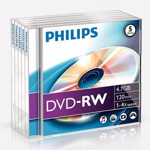 DVD-RW 4,7GB 4xspeed jewel case 5 stuks